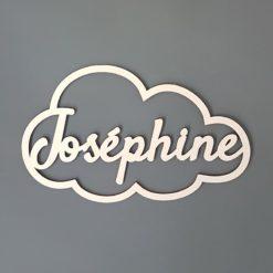 Cadre nuage en bois avec prénom