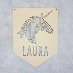 Décoration licorne personnalisée fanion en bois avec un prénom