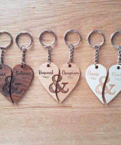 Porte clés en bois à partager entre amoureux
