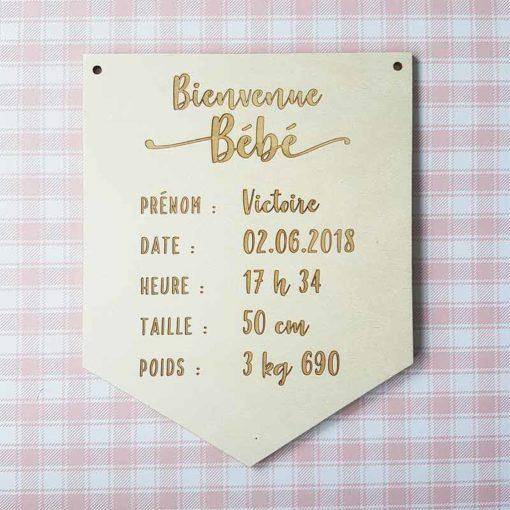 Décoration naissance en bois avec prénom date et mensurations
