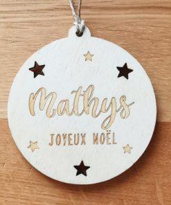Boule de Noël en bois gravée ronde personnalisée avec prénom