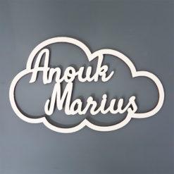 Cadre nuage en bois avec 2 prénoms mariage naissance jumeaux