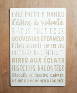 Pancarte en bois personnalisée avec les règles des grands-parents