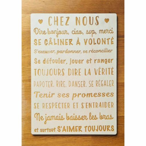 Pancarte en bois personnalisée avec les règles de la maison