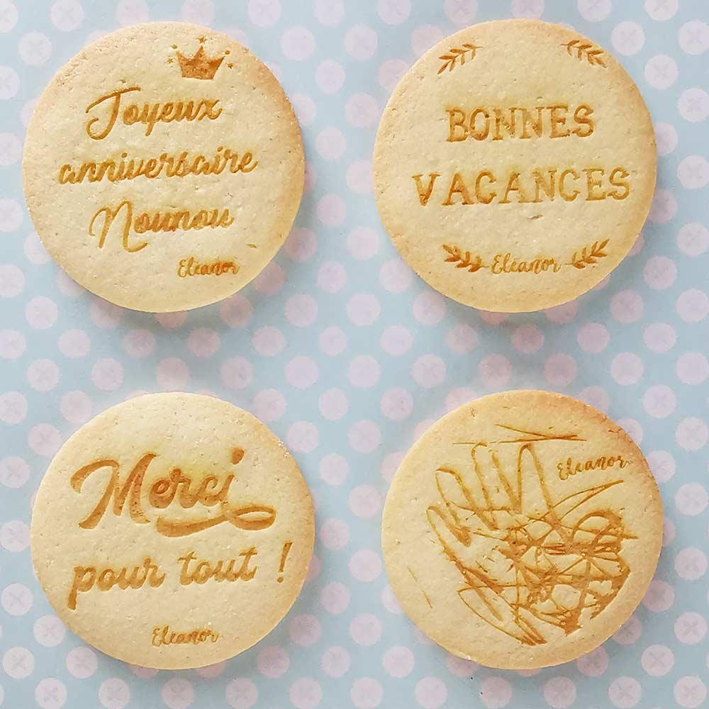 Biscuits souvenirs dessins d'enfants pour nounou, maitresse, prof et atsem
