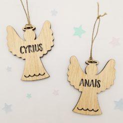 Décoration de sapin de Noël en bois en forme d'ange