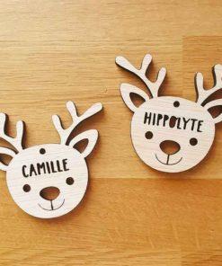 Décoration de sapin de Noël en bois petit renne