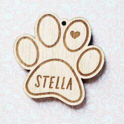 Décoration sapin boule de Noël en bois patte chien chat avec nom personnalisé